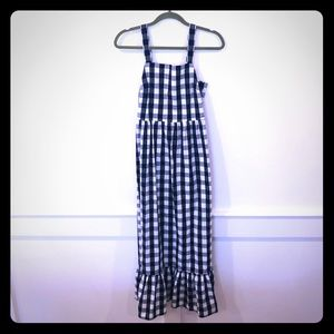 Jcrew maxi dress, navy and white check